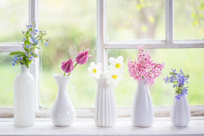Bloemen op de vensterbank