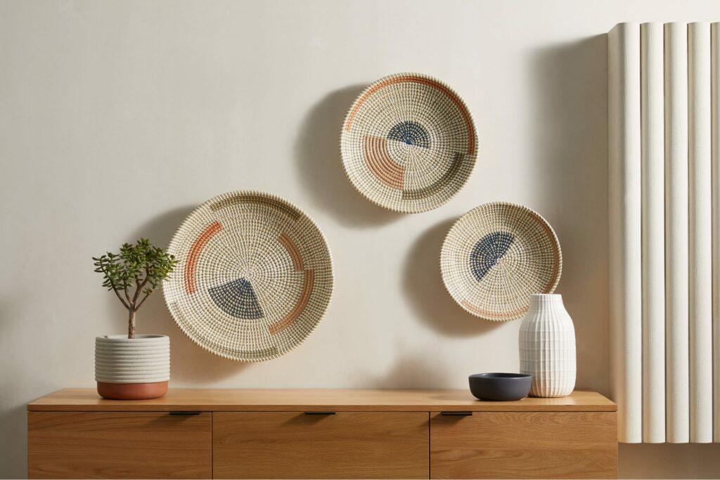 Cam set van 3 decoratieve wanddecoraties van zeegras