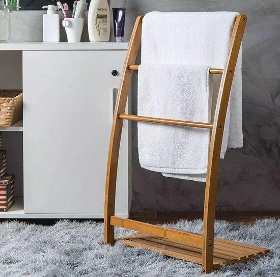 Handdoekenrek voor 3 handdoeken staand bamboe
