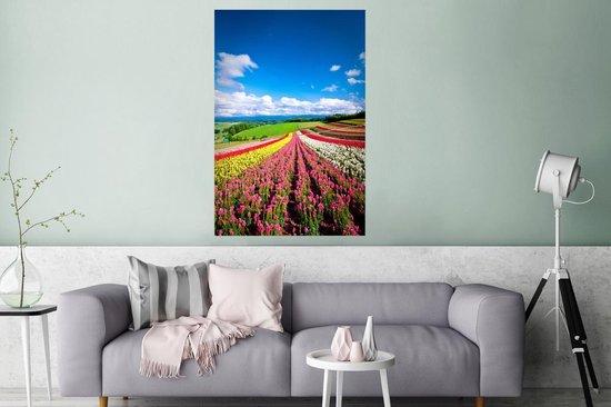 Poster van bloemenveld op het Japanse eiland Hokkaido