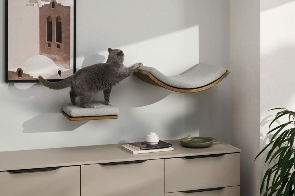 Set van 2 planken voor katten walnoothout en grijs