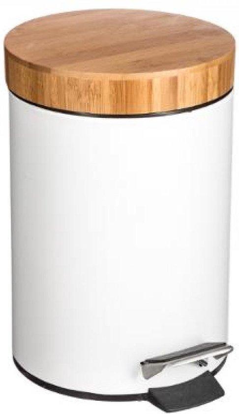 Stijlvolle prullenbak met bamboe deksel