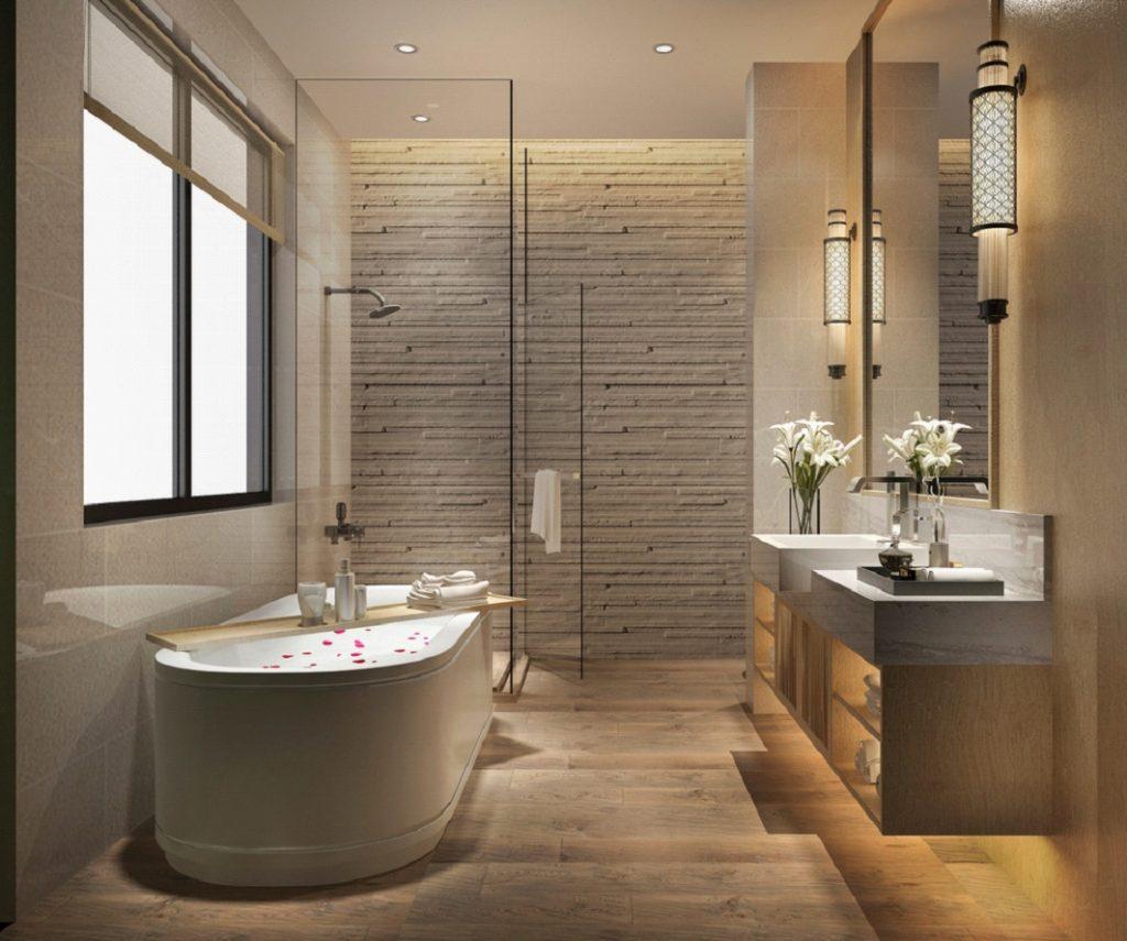 badkamer met houtlook tegels
