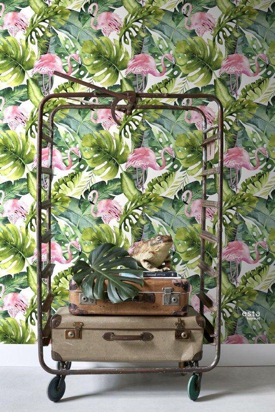 behangpapier XXL met tropische bladeren met flamingo's