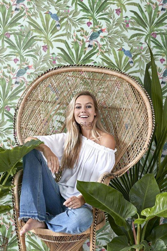 behangpapier tropische jungle bladeren mintgroen