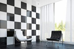 een zwart-wit interieur