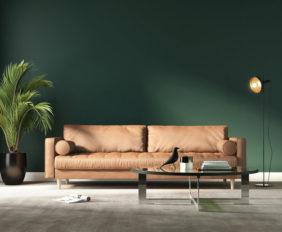 groene woonkamer interieur